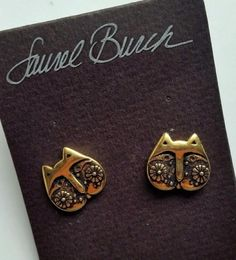 Laurel Burch Kitty Cat Face Post Earrings Gold Tone CUTE New Old Stock #LaurelBurch #Post