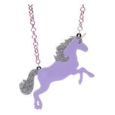 Lilac Unicorn necklace - laser cut acrylic (25 PAB) ❤ liked on Polyvore featuring jewelry, necklaces, unicorns, heart necklace, multi layered necklace, heart jewelry, heart shaped necklace and chain necklace