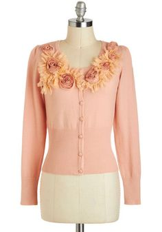 Blushing Sunrise Cardigan by Ryu - Pink, Tan / Cream, Solid, Buttons, Flower, Lace, Work, Long Sleeve, Short, Party, Vintage Inspired, Fairytale