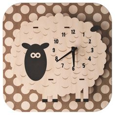This Sheep Kid's Clock is cute bedroom or nursery decor. Great as a sweet baby shower gift, this lamb clock is laser cut from natural birch wood and printed with nontoxic ink. 3d Wall Clock, Pendulum Wall Clock, Wall Art, Clock For Kids, Kids Clocks, Christmas Chalkboard, Chalkboard Tags, Tabletop Clocks, Cool Clocks