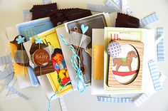 Check out these fabulous baby shower favors created using our Little Boy Blue Collection. #cratepaper #inspiration