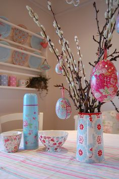 bright pink aqua tea pitcher easter eggs pussy willow
