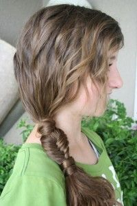 side ponytial, with a fishtail braid. love this one