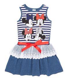 Love this Disney Heather Denim Blue Minnie Tiered Dress - Toddler & Girls on #zulily! #zulilyfinds