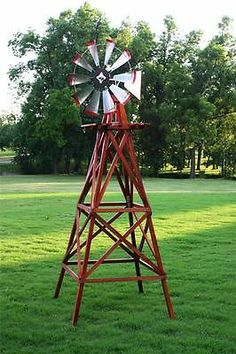 Decorative Farm Style 10 ft Wooden Windmill for Yard