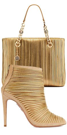 Aquazzura & Bulgari ~ Blonde Leather + Gold Shootie Heel + Handbag