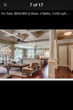 Love the scraped floor, ceiling detail and open floor plan.****I like everything about this for our Utah Great Room