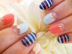 Nails/// coral x light blue x navy, stripes, summer