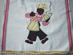 Vintage Black Americana Towel Embroidered & Appliqued Waiter Serves Dinner