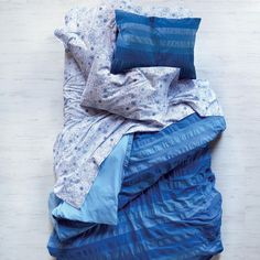 Kids Bedding: Blue Striped Bedding Set in Girl Bedding | The Land of Nod