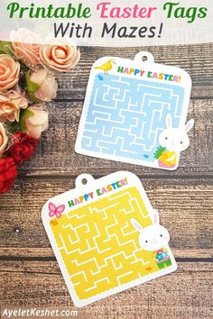 Free printable Easter tags for kids with Easter bunnies and maze games. Cute gift tags that make a clever way to say Happy Easter! #Ayelet_Keshet #Easter #printabes #free_printables #gifttag