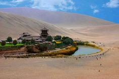 beautiful natural wonder Crescent lake China