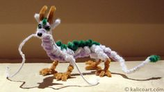 Haku from the movie Spirited Away.(pipe cleaners)the Art of Kalico Kat Pipe Cleaner Projects, Pipe Cleaner Art, Pipe Cleaner Animals, Pipe Cleaners, Cute Crafts, Crafts To Make, Crafts For Kids, Arts And Crafts, Dragon Crafts