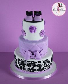 Purple Damask - Cakes by Dusty.