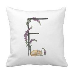 #initial - #F is for Fox and Foxglove pillow! Throw Pillow