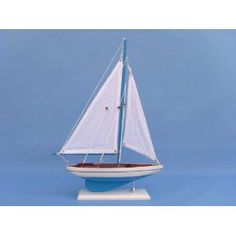 "Teal Blast Sunset Sailboat 17"" Model Sailboat - Already Built - Wooden Sail Boat Replica $14.99 Amozon"