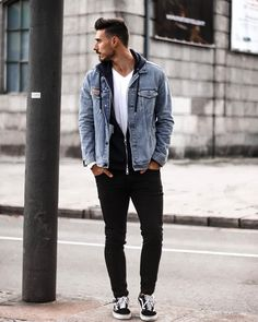 Because black jeans and denim jackets always look cool «😎 Vans Outfit Men, Best Mens Fashion, Look Cool, Black Jeans, Men Casual, Denim Jackets, Cool Stuff, Outfits, Instagram