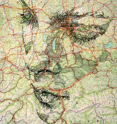 Detailed portraits drawn onto maps by Ed Fairburn