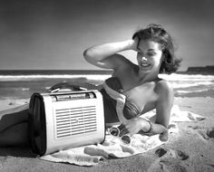 Outdoor Philips portable radio on surf beach location with modelling by Pat Field, Max Dupain photographer Australian Vintage, Australian Fashion, Classic Image, Head & Shoulders, Bondi Beach, Beach Scenes, Bluetooth Speakers, 1940s, Nostalgia