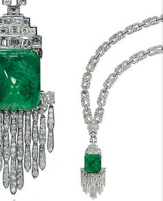 Mauboussin sugarloaf emerald cabochon and diamond necklace~ not sure how old but its exquisite!