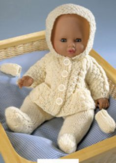 Vintage Knitting Pattern PDF Dolls Clothes Aran Hoodie Jacket Leggings and Mitts Premature Baby Reborn Dolls Baby Knitting Patterns, Knitting Dolls Clothes Patterns, Knitted Doll Patterns, Knitted Dolls, Baby Patterns, Free Knitting, Double Knitting, Knitted Bags, Knitting Yarn