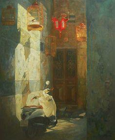 Artist Dang, Hiep (Vietnamese: 1988) - Born in Ha Noi, Vietnam - Medium: Vietnamese Oil Painting on Canvas - Quiet II