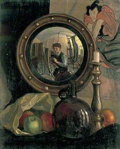 Mark Gertler, Still-Life with Self-Portrait, {Leeds Art Gallery) Leeds Art Gallery, Self Portrait Art, Reflection Art, Mirror Painting, Pre Raphaelite, Painting Still Life, Collaborative Art, Art Uk, Fine Art