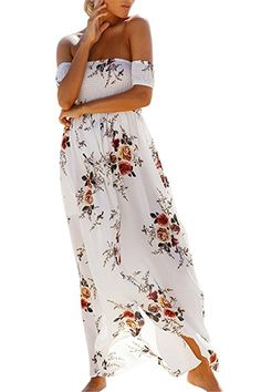 90394f3b73b07d Luojida Sommerkleider Damen Lang Strand Abendkleid Schulterfrei Maxikleid Off  Shoulder Elegant Blumendruck: Amazon.de