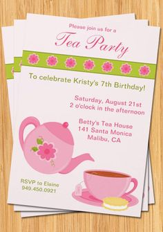 Tea Party Invitation  Fully Customizable by eventfulcards on Etsy, $15.99