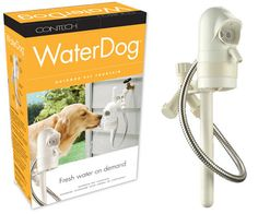hook it up to the outside faucet and a sensor will detect your dog and dispense water - For Tito!