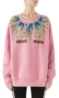 Long-Sleeve Crystal-Embroidered Felted Cotton Jersey Oversized Sweatshirt by Gucci at Neiman Marcus Gucci Sweatshirt, Sweatpants Outfit, Date Outfits, Girls Sweaters, Printed Sweatshirts, Fall Trends, Sweater Weather, Clothes For Women, Long Sleeve