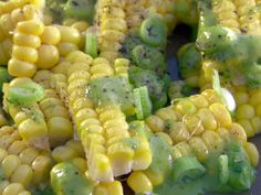 Grilled Corn Sheets with Scallion Vinaigrette Recipe : Bobby Flay : Food Network - FoodNetwork.com