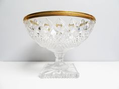 Large Lead cut crystal glass pedestal bowl, fruit bowl bonbonniere, Large crystal footed bowl centerpiece candy dish Compotes bowl Dia 10 in by EbyVintage on Etsy