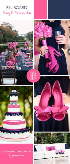 I have so much love for this navy blue and watermelon pink wedding. The bright pink shoes and roses are fantastic, as are the navy bridesmaid dresses and that great cake.