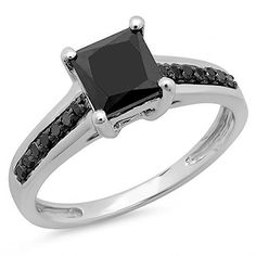 1.60 Carat (ctw) 14K White Gold Princess & Round Black Diamond Ladies Bridal Engagement Ring (Size 4) DazzlingRock Collection