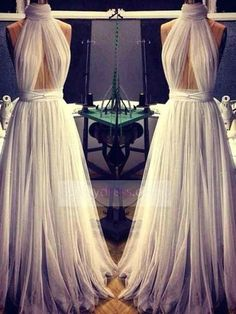 Silver Tulle Long Sexy Prom Dresses Halter Sheer Backless Celebrity Evening Dress ItemPGr0022