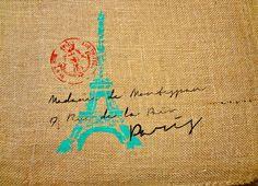Paris Address Stenciled Bag by HeartVintageDesign on Etsy, $15.00