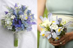 Pastel-Purple-and-Blue-Wedding-Bouquets. Irises may be one of the only blue flowers I like