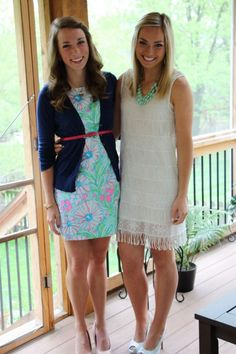 Oogling over the girl on the left's outfit... Not crazy about the fringe of the bottom of the dress on the right.