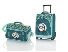 Travelite Youngster Set Kindertrolley 2W + Reisetasche Panda - Petrol