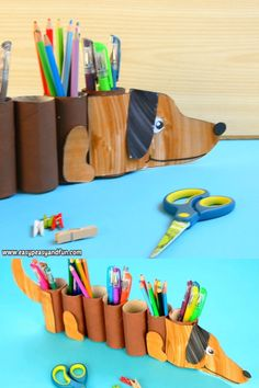 If you are already thinking about back to school or just want a unique pencil holder on your desk we are sure you are going to love this Dachshund dog paper roll pencil holder. Toilet Roll Holder Crafts, Toilet Paper Roll Crafts, Cardboard Crafts, Paper Crafts, Creative Crafts, Fun Crafts, Diy For Kids, Crafts For Kids, Cadeau Parents