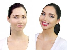 Before and After - Megan Fox Look on Model Jessica Green. All Silk Oil of Morocco Argan Cosmetics. www.silkoilofmorocco.com