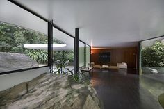 Casa das Canoas  Architect: Oscar Niemeyer 1952-53  Niemeyers own home for the period, outside Rio de Janeiro.  I love how the outdoors is in the indoors, and we all feel like monkeys on display at the zoo in our habitats.