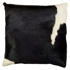Check out this item at One Kings Lane! Torino 16x16 Hide Pillow, Black/White