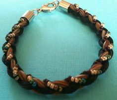 Beautiful Brown Black Horse Hair Bracelet Braided with Brown Silver Beading | eBay