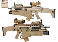 These are Airsoft, so not real, but good photos. SCAR-Ls with CQC [Close Quarters Combat] barrel and FN's EGLM [Enhanced Grenade Launcher Module] 40 mm under barrel grenade launcher. Airsoft Guns, Weapons Guns, Guns And Ammo, Rifles, Fn Scar, Survival Weapons, Concept Weapons, Big Guns, Assault Rifle
