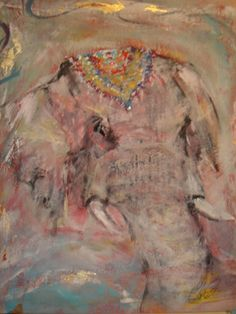 "Saatchi Art Artist Wendy Addison; Painting, ""jeweled elephant"" #art"