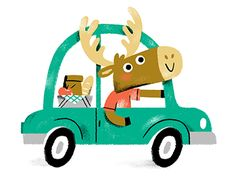 Moose road trip GIF by Alyssa Nassner Cute Animal Illustration, Simple Illustration, Children's Book Illustration, Drawing For Kids, Painting For Kids, Kid Character, Character Design, Cute Cars, Pet Birds