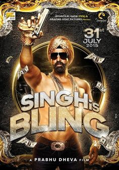 Akshay Kumar is playing a sardar in Singh is Bling and the first look of the film is out. In the poster Akshay Kumar is seen wearing a golden turban and carrying a blingy gun in this Bollywood Movie Trailer, Great Comedies, 2015 Movies, Movies Free, Hollywood, Akshay Kumar, New Poster, Full Movies Download, Hindi Movies