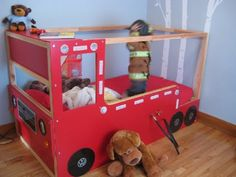 Materials: Kura Bed, 1/2 in MDF sheet, 1/4 in panels, 2×2, lights, switches, 120-to-12V adaptor, IKEA style screws and bolts, paint., reflectors, hose and faucet… Description: We decided to buy the Kura bed to make a Firetruck bed for our toddler, trying to keep the original bed as intact as possible for when he outgrow …